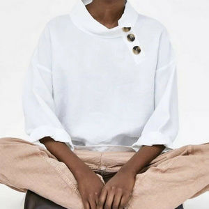 NWT ZARA White Linen Top with Buttons XS